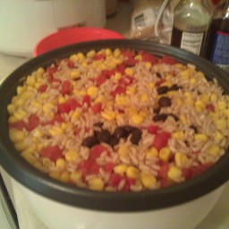 Rice Cooker Brown Rice with Black Beans, Tomatoes and Corn