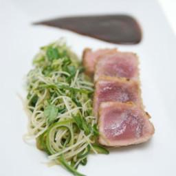 Rice Krispies™ Tuna with Cucumber Salad and Hoisin-Lime Sauce