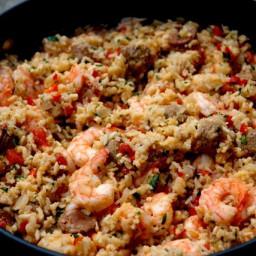 Rice with chorizo and shrimp