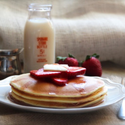 Ricotta Pancakes with Strawberry Maple Syrup