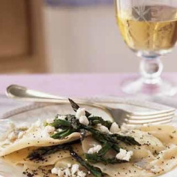 Ricotta Ravioli with Browned Poppy Seed Butter and Asparagus