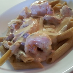 Rigatoni and Shrimp with Garlic Cream Sauce