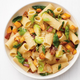 Rigatoni with Butternut Squash, Brussels Sprouts and Bacon