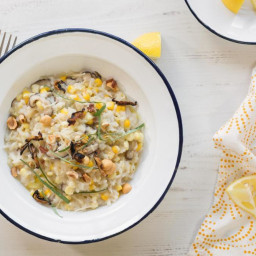 Risotto with corn, shiitakes, and basil