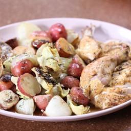 Roast Chicken Dinner with Roasted Garlic Gravy