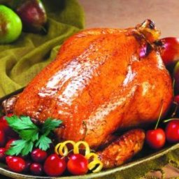 Roast Chicken with Apple Stuffing and Cider Sauce