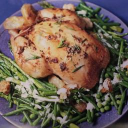 Roast chicken with Caesar vegetables
