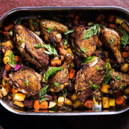 Roast Chicken with Carrots and Apples