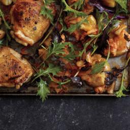 Roast Chicken with Kimchi Smashed Potatoes