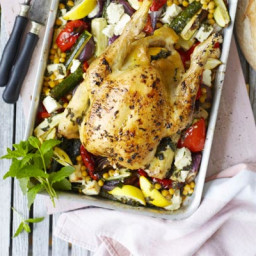Roast chicken with peppers and feta