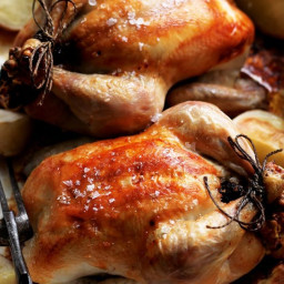 Roast chicken with prune and walnut stuffing