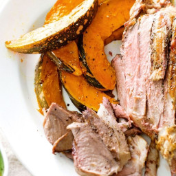 Roast lamb with pumpkin and peas