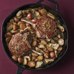 Roast Pork Chops with Baby Artichokes and New Potatoes