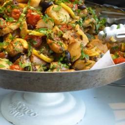 Roast potatoes and Jerusalem artichokes with lemon and sage