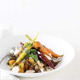 Roast pumpkin and carrot salad with caper and raisin dressing