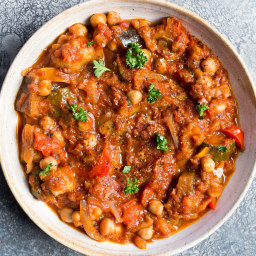 Roast Veg & Chickpea Stew Recipe · Deliciously Ella
