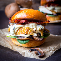 Roast Chicken and Creamy Garlic Mushroom Burger