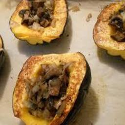 Roasted Acorn Squash stuffed with Mushrooms