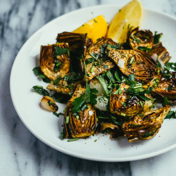 Roasted Baby Artichokes and Pearl Onions