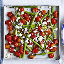Roasted balsamic asparagus and cherry tomatoes