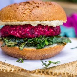 Roasted Beet, Brown Rice and Chickpea Burgers with Crispy Kale and a Thyme