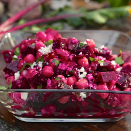 Roasted Beet Salad with Chickpeas and Red Onion