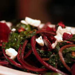 Roasted Beets and Sautéed Greens with Hazelnuts and Goat Cheese