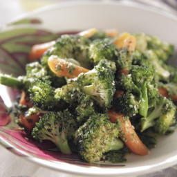 Roasted Broccoli and Carrots with Carrot Top Pesto