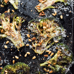 Roasted Broccoli Steaks with Butter Toasted Pine Nuts