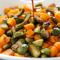 Roasted Brussels Sprouts, Butternut Squash and Bacon with Maple Soy Glaze