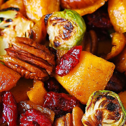 Roasted Brussels Sprouts, Cinnamon Butternut Squash, Pecans, and Cranberrie
