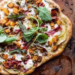 Roasted Butternut Squash Apple Burrata Pizza.