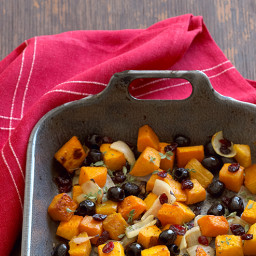 Roasted Butternut Squash with Cranberries and Ripe Olives