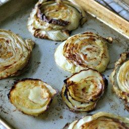 Roasted Cabbage Steaks. Garlic Rubbed Roasted Cabbage Steaks.