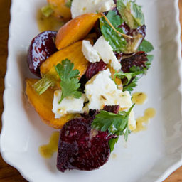 Roasted Carrot and Beet Salad with Feta, Pulled Parsley & Cumin Vinaigrette