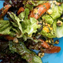Roasted Carrots and Red Leaf Lettuce Salad with Buttermilk Herb Dressing