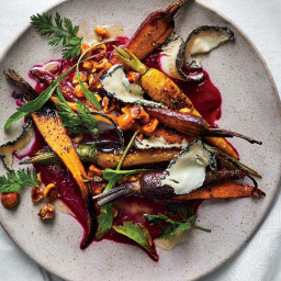Roasted Carrots with Beet Puree, Goat Cheese, and Hazelnuts