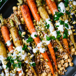 Roasted Carrots with Farro, Chickpeas and Herbed Crème Fraîche
