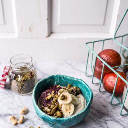 Roasted Cashew-Almond Yogurt Bowl with Stove-Top Matcha Green Tea Granola.