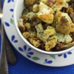 Roasted Cauliflower and 16 Roasted Cloves of Garlic