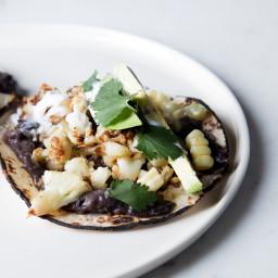 Roasted Cauliflower, Corn, and Black Bean Tacos with Avocado