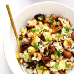 "Roasted Cauliflower, Mushroom and Wild Rice ""Stuffing"""