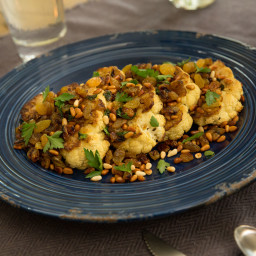 Roasted Cauliflower Steaks with Golden Raisins and Pine Nuts