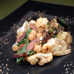 Roasted Cauliflower with Chard, Chickpeas and Dukka