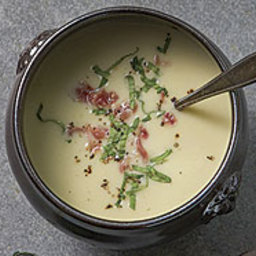 Roasted Celery and Garlic Soup with Crisp Prosciutto