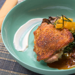 Roasted Chicken and Mixed Mushroomswith Crispy Rosemary-Orange Salad and Ch