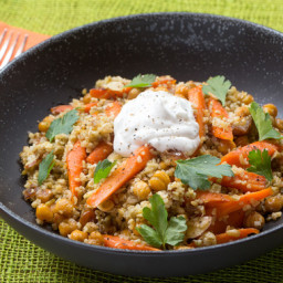 Roasted Chickpea and Freekeh Saladwith Harissa-Glazed Carrots and Dates