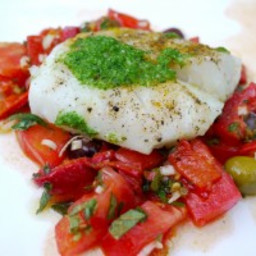 Roasted Cod with Olives and Lemon