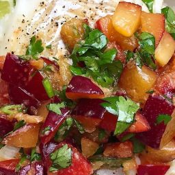 Roasted Cod with Soy Ginger Plum Salsa and Jasmine Rice