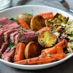 Roasted Corned Beef and Cabbage with Carrots, Potatoes & Horseradish Cream
